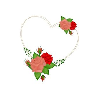 Vintage fiore floreale amore cornice illustrazione vettoriale