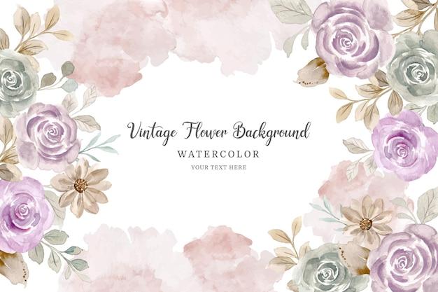 Cornice fiore vintage sfondo fiore rosa con acquerello