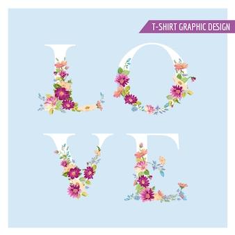 Testo di amore del fiore dell'annata nel disegno della maglietta di stile dell'acquerello