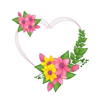 Fiore vintage con illustrazione vettoriale cornice d'amore
