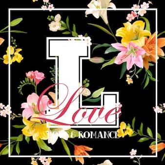 Progettazione grafica di fiori vintage