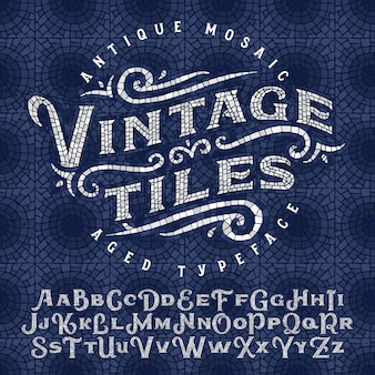 Set di caratteri vintage fatto di pezzi di mosaico