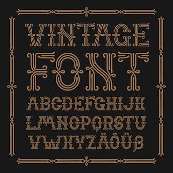 Set di caratteri vintage con cornice