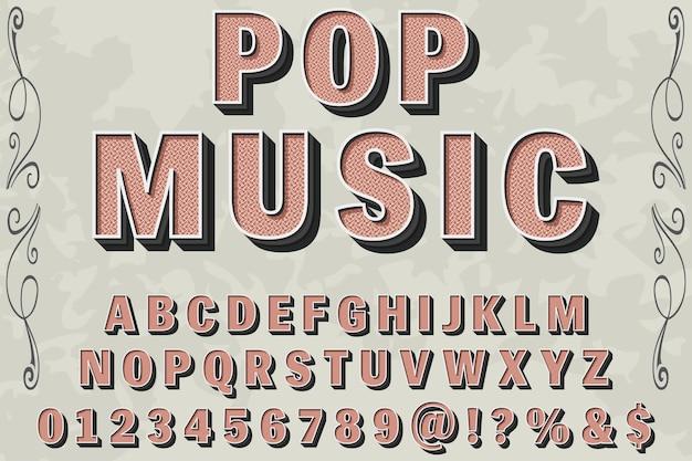 Carattere tipografico vintage denominato musica pop