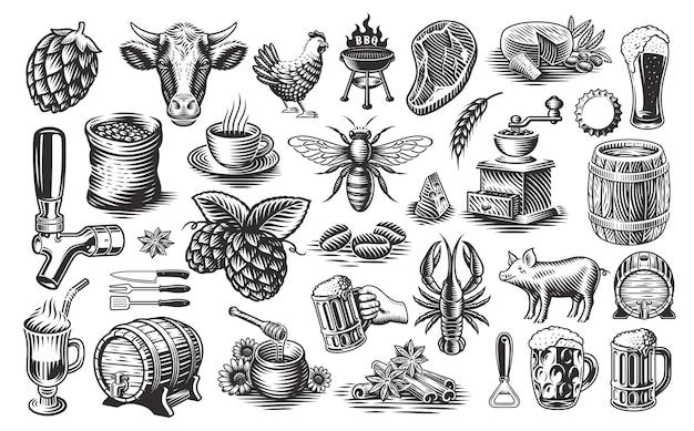 Vintage food clipart, una serie di illustrazioni in bianco e nero per temi come birreria, caseificio, miele, barbecue, caffè