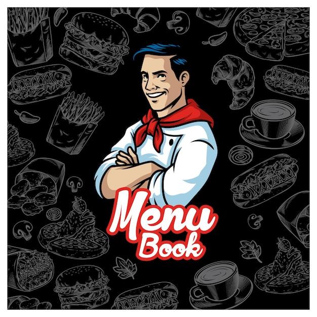 Progettazione di menu di cibo vintage con carattere chef