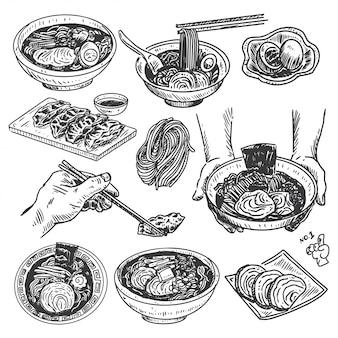 Schizzo di cibo vintage, menu ramen giapponese disegnato a mano,