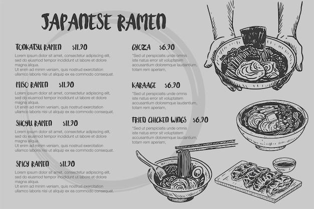 Schizzo di cibo vintage, menu di ramen giapponese disegnato a mano,