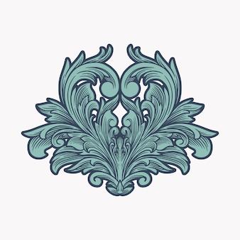 Ornamento floreale bordo cornice d'epoca inciso