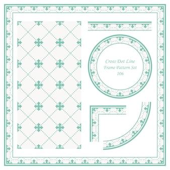 Vintage frame pattern set di cross dot line