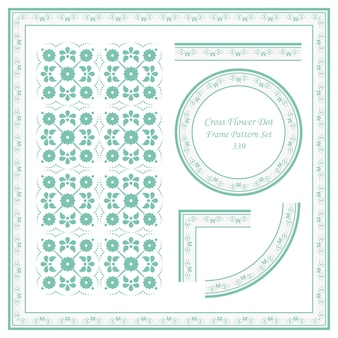 Vintage frame pattern set di cross flower dot line
