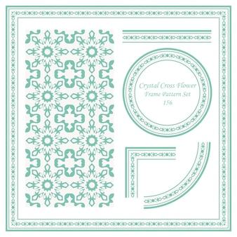 Vintage frame pattern set di crystal cross flower