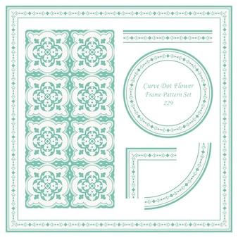 Vintage frame pattern set di curva dot flower cross