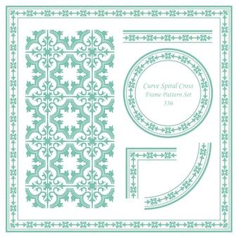 Vintage frame pattern set di curva a spirale croce
