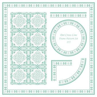 Vintage frame pattern set di dot cross line