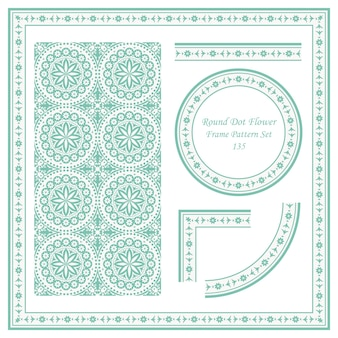 Vintage frame pattern set di round dot cross flower