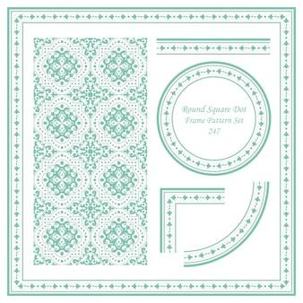 Vintage frame pattern set di round square dot cross flower