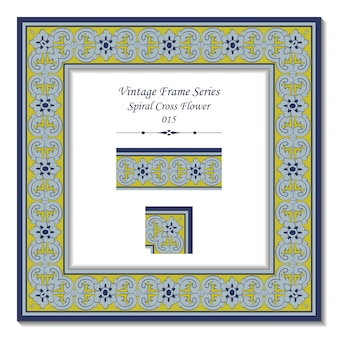 Serie telaio vintage di antico fiore croce a spirale