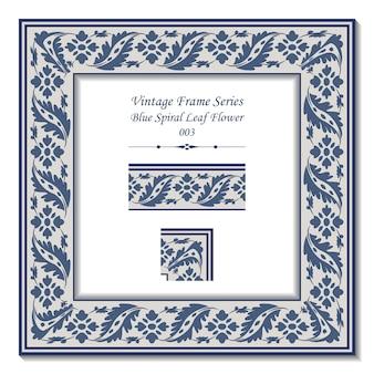 Serie di frame vintage di retro blue spiral leaf flower