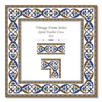 Serie di frame vintage di retrò spirale piuma croce