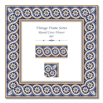 Serie di frame vintage di round spral cross flower