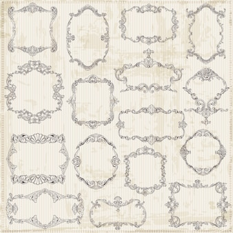 Cornici d'epoca ed elementi di design calligrafici