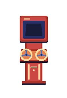Illustrazione piana della macchina del gioco dell'annata isolata su bianco.