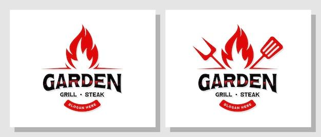 Vintage garden grill barbecue logo design
