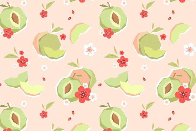 Modello geometrico vintage di frutta e fiori di prugna