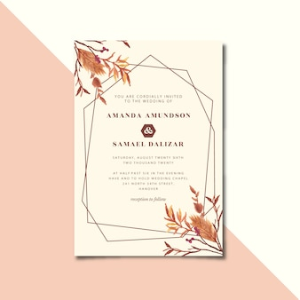 Invito a nozze geometrico vintage con acquerello floreale secco