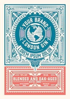 Design etichetta vintage gin