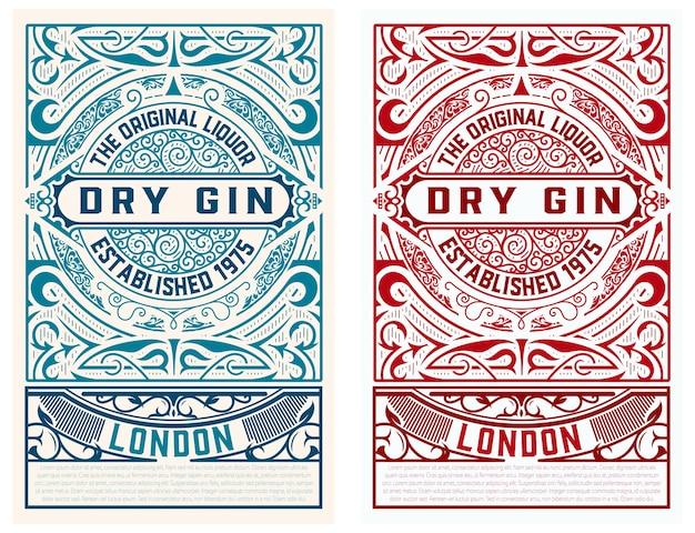 Etichetta gin vintage. distillazione di elementi di marchio aziendale ed dentity.