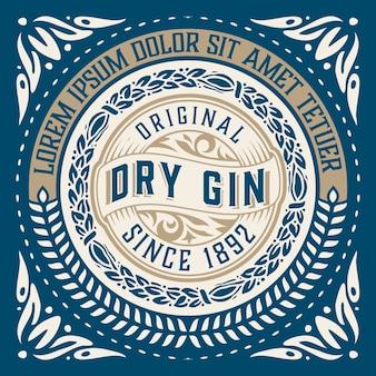 Etichetta gin vintage con ornamenti barocchi