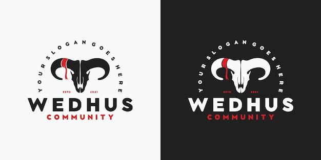 Logo vintage testa di capra, logo per comunità, cacciatore, ranch e fattoria e altro