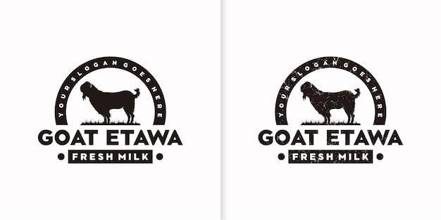 Logo vintage di capra, logo di capra da latte, logo di latte di capra, riferimento al logo del ranch