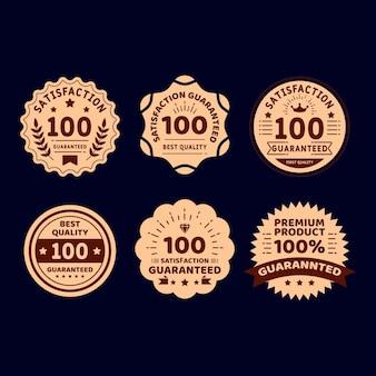 Collezione vintage di etichette di garanzia dorata al 100%