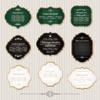 Cornici dorate vintage e set di etichette.