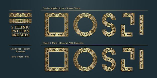 Collezione vintage golden geometric border frame