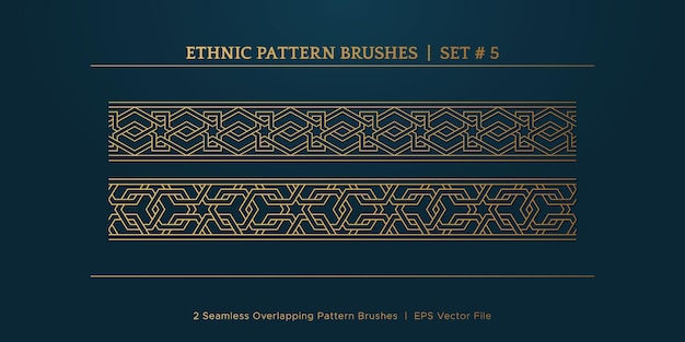 Cornici di bordi geometrici dorati vintage, collezione di cornici di confine etnico tradizionale