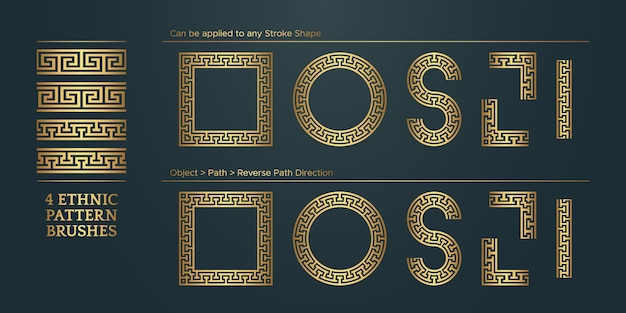 Vintage golden geometric pattern borders frames collezione etnica tradizionale