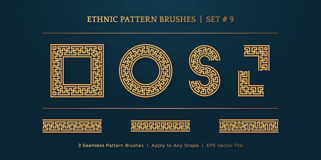 Vintage golden geometric pattern borders frames, traditional ethnic vector border frame collection