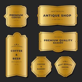 Collezione di etichette metalliche dorate vintage