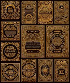 Carte vintage retrò dorate flourish cornici calligrafiche e design di etichette pubblicitarie
