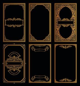 Set di carte retrò dorate vintage modello cornici calligrafiche e incisione fiorisce design