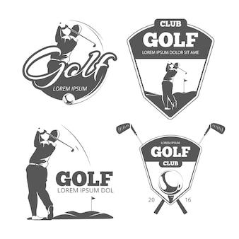 Contrassegni, distintivi ed emblemi di vettore di golf dell'annata. icona del segno di sport, illustrazione del gioco del club