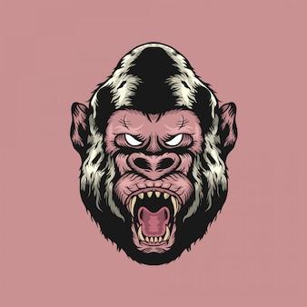 Illustrazione disegnata a mano arrabbiata di gorila head d'annata