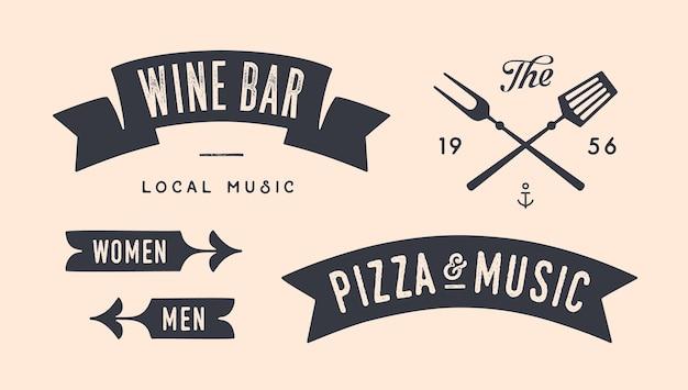 Insieme grafico dell'annata. set di banner vintage, nastro, coltello da taglio, testo, elementi grafici della vecchia scuola, strumenti alimentari. elementi di design per ristorante, bar, caffetteria, negozio di alimentari e mercato. illustrazione vettoriale