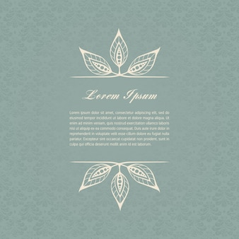 Carta grigio-blu vintage con elementi di disegno floreale