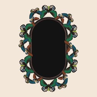 Cornice vettoriale vintage verde con motivo a farfalla, remix di the naturalist's miscellany di george shaw
