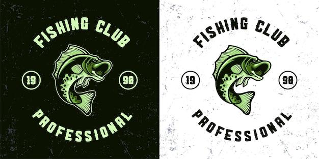 Illustrazione della mascotte di pesca del pesce verde dell'annata